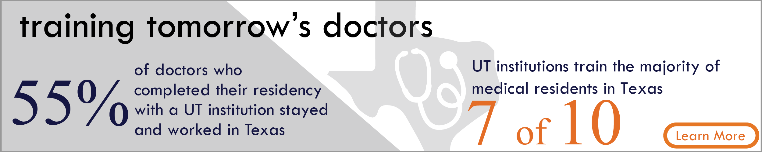 Training Tomorrow's Doctors. 55% of doctors who complete their residency with a UT institution stayed and worked in Texas. UT institutions train the majority of medical residents in Texas- 7 of 10. Learn more.